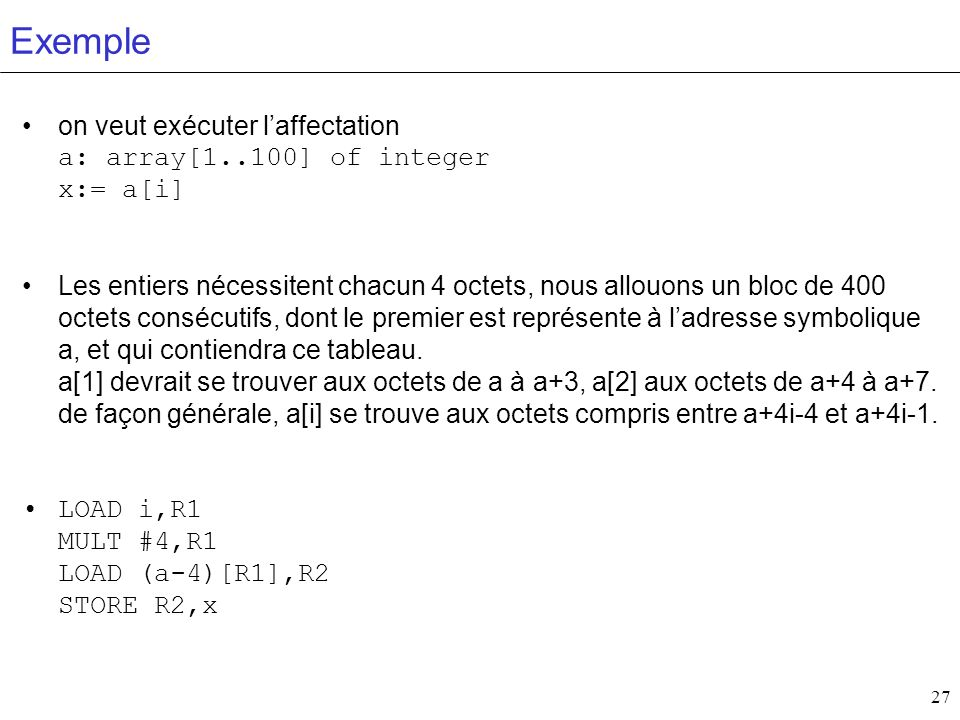 Exemple on veut exécuter l'affectation a: array[1..100] of integer x:= a[i]